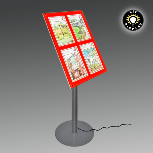 MF12A: LIT panel on podium stand with removable poster holders