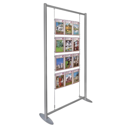 PF1: Free-Standing aluminium frame with suspended clamp-on poster holders
