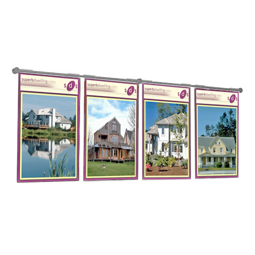 PW2: Acrylic poster holders hooked over wall-mount s/s bars