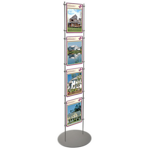 PF6: Acrylic poster holders clamped between 10mm stainless steel bars on weighted bases