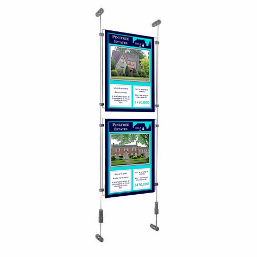 PW6: Single column of acrylic poster holders clamped to wall-suspended wires