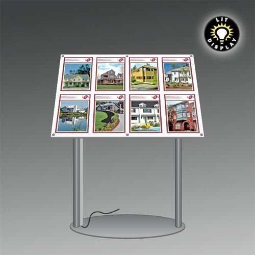 MF12B: LIT panel on podium stand with magnetic poster holders - 2 legs