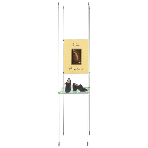 VS1A: Suspended glass shelving (clamped) with poster holders