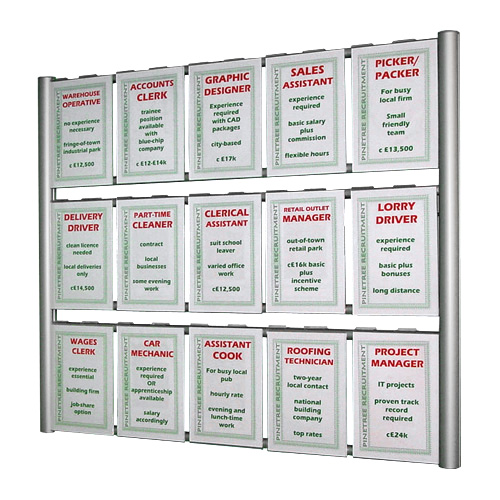 PW3: Wall mounted aluminium 'ladders' with hook-over poster holders